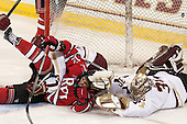 Danny Linell (BC - 10), Johnny Rogic (RPI - 12), Thatcher Demko (BC - 30) - The Boston College Eagles defeated the visiting Rensselaer Polytechnic Institute Engineers 7-2 on Sunday, October 13, 2013, at Kelley Rink in Conte Forum in Chestnut Hill, Massachusetts.