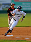 7 July 2008: Vermont Lake Monsters' infielder Steve Souza rounds the bases against the Batavia Muckdogs at Centennial Field in Burlington, Vermont. The Lake Monsters defeated the Muckdogs 3-2 in the final game of their 3-game series...Mandatory Photo Credit: Ed Wolfstein Photo