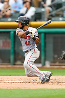 Ali Castillo (49) of the Sacramento River Cats follows through on his swing against the Salt Lake Bees during the Pacific Coast League game at Smith's Ballpark on August 11, 2017 in Salt Lake City, Utah. The River Cats defeated the Bees 8-7. (Stephen Smith/Four Seam Images)