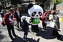April 1, 2011, Tokyo, Japan - Staff collect donations for victims of the March 11 earthquake and tsunami at Ueno Zoo in Tokyo on Friday, April 1, 2011. Thousands of visitors flocked to catch a first glimpse of a pair of pandas on loan from China, in a welcome respite from the gloom over last month's massive earthquake and tsunami in northern Japan. (Photo by Daiju Kitamura/AFLO) [1045] -ty-.