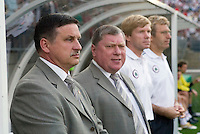 Latvia's head coach Juris Andrejevs. USA defeated Latvia 1-0 in an international friendly at Rentschler Field, East Hartford, CT, on May 28, 2006.