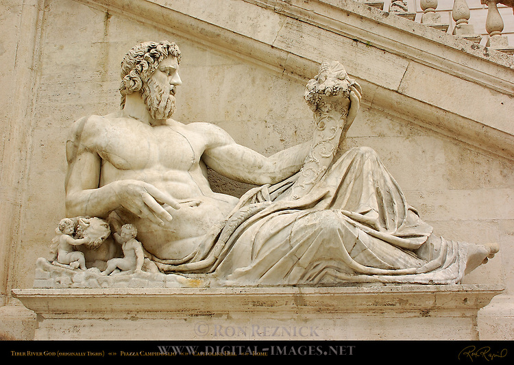 Tiber River God detail Michelangelo Stairs Palazzo Senatorio Campidoglio Capitoline Hill Rome