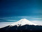 Mount Fuji under dramatic blue sky. Fujikawaguchiko, Yamanashi, Japan.