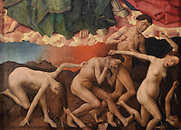 The damned falling in terror into hell, from the open panels of the polyptych altarpiece, 1446-52, by Rogier van der Weyden, 1399-1464, commissioned by Nicolas Rolin in 1443, in Les Hospices de Beaune, or Hotel-Dieu de Beaune, a charitable almshouse and hospital for the poor, built 1443-57 by Flemish architect Jacques Wiscrer, and founded by Nicolas Rolin, chancellor of Burgundy, and his wife Guigone de Salins, in Beaune, Cote d'Or, Burgundy, France. The altarpiece was originally in the Chapel, but is now in the museum. The panels were only opened to patients during holy days. The hospital was run by the nuns of the order of Les Soeurs Hospitalieres de Beaune, and remained a hospital until the 1970s. The building now houses the Musee de l'Histoire de la Medecine, or Museum of the History of Medicine, and is listed as a historic monument. Picture by Manuel Cohen