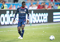 12 September 2012: Chicago Fire defender Jalil Anibaba #6 in action during an MLS game between the Chicago Fire and Toronto FC at BMO Field in Toronto, Ontario..The Chicago Fire won 2-1..