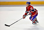 24 September 2009: Montreal Canadiens' defenseman Mathieu Carle in action against the Boston Bruins at the Bell Centre in Montreal, Quebec, Canada. The Bruins edged out the Canadiens 2-1 in an overtime shootout of their pre-season matchup. Mandatory Credit: Ed Wolfstein Photo