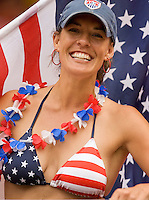 Jenny Deakyne of the USA, who was on her honeymoon with husband Tim at the Ghana-USA match. Ghana defeated the USA 2-1 in their FIFA World Cup Group E match at Franken-Stadion, Nuremberg, Germany, June 22, 2006. Ghana advances to round of 16 and the USA is out of the tournament.