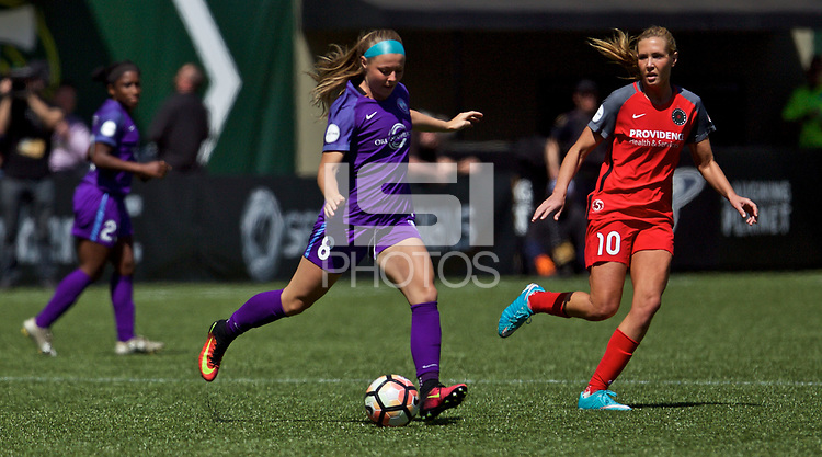 Portland, OR - Saturday April 15, 2017: Danica Evans during a regular season National Women's Soccer League (NWSL) match between the Portland Thorns FC and the Orlando Pride at Providence Park.