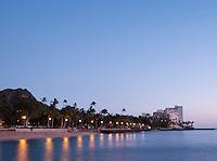 Dusk over Waikiki Beach at Honolulu, O'Ahu, Hawai?i