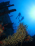 Orchid Island, Taiwan -- Two divers silhouetted against the sun with the Ba Dai ship wreck in the foreground.
