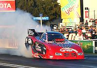Feb 6, 2015; Pomona, CA, USA; NHRA funny car driver Gary Densham during qualifying for the Winternationals at Auto Club Raceway at Pomona. Mandatory Credit: Mark J. Rebilas-