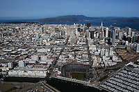 aerial photograph AT&T Giants baseball park south beach marina skyline San Francisco California
