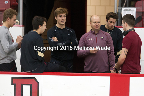 Graham McPhee (BC - 27), Matthew Gaudreau (BC - 21), Chris Calnan (BC - 11), John Hegarty (BC - Director-HockeyOps), Ron Greco (BC - 28), Ryan Fitzgerald (BC - 19) - The Harvard University Crimson defeated the visiting Boston College Eagles 5-2 on Friday, November 18, 2016, at the Bright-Landry Hockey Center in Boston, Massachusetts.