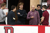 Graham McPhee (BC - 27), Matthew Gaudreau (BC - 21), Chris Calnan (BC - 11), John Hegarty (BC - Director-HockeyOps), Ron Greco (BC - 28), Ryan Fitzgerald (BC - 19) - The Harvard University Crimson defeated the visiting Boston College Eagles 5-2 on Friday, November 18, 2016, at the Bright-Landry Hockey Center in Boston, Massachusetts.