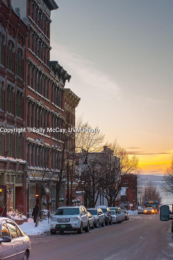 View down College Street in Burlington, Vermont toward Lake Champlain. Burlington, Vermont and Lake Champlain