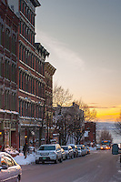 View down College Street in Burlington, Vermont toward Lake Champlain. Burlington, Vermont and Lake Champlain
