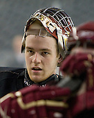 Parker Milner (BC - 35) - The Boston College Eagles practiced on Wednesday, April 7, 2010, at Ford Field in Detroit, Michigan to prepare for their 2010 Frozen Four Semi-Final.