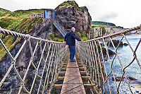 Crossing the Carrick-a-Rede Rope Bridge in beautiful Northern Ireland on the Antrim Coast.