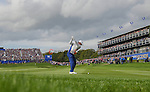 Europe's Rory McIlroy hits his shot off the 18th fairway<br /> <br /> Photographer Ian Cook/CameraSport<br /> <br /> International Golf - 2014 Ryder Cup - Day 2 - Saturday 27th September 2014 - PGA Centenary Course - Gleneagles Hotel - Auchterarder, Scotland<br /> <br /> &copy; CameraSport - 43 Linden Ave. Countesthorpe. Leicester. England. LE8 5PG - Tel: +44 (0) 116 277 4147 - admin@camerasport.com - www.camerasport.com