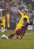 24 APRIL 2010:  Real Salt Lakes' Tony Beltran (2) and Eddie Gaven of the Columbus Crew (12) during the Real Salt Lake at Columbus Crew MLS soccer game in Columbus, Ohio. Columbus Crew defeated RSL 1-0 on April 24, 2010.
