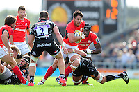 Sean Maitland of Saracens takes on the Exeter Chiefs defence. Aviva Premiership match, between Exeter Chiefs and Saracens on September 11, 2016 at Sandy Park in Exeter, England. Photo by: Patrick Khachfe / JMP