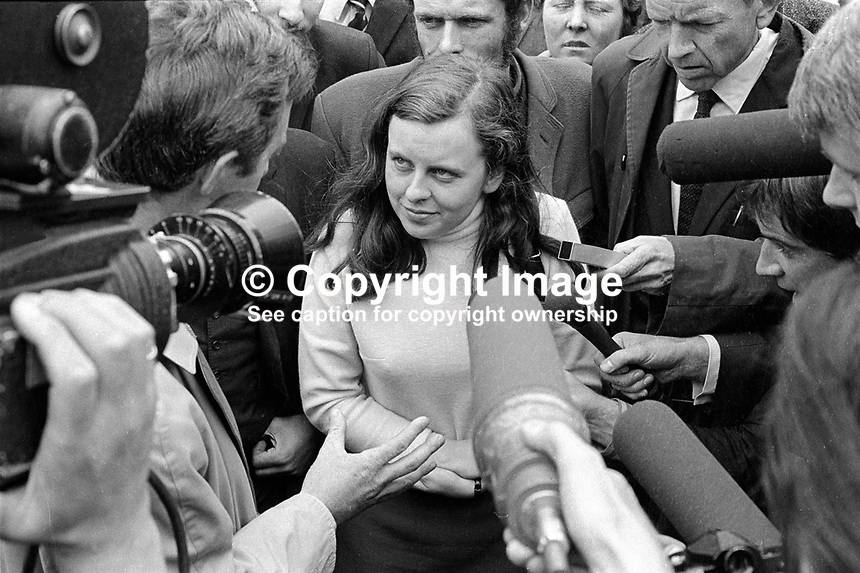 Bernadette Devlin, MP, in a media scrum outside the N Ireland High Court, after being refused leave to appeal to the Lords against a 6 months jail sentence for her part in rioting in the Bogside in Londonderry. 197006260236b..Copyright Image from Victor Patterson, 54 Dorchester Park, Belfast, UK, BT9 6RJ..Tel: +44 28 9066 1296.Mob: +44 7802 353836.Voicemail +44 20 8816 7153.Skype: victorpattersonbelfast.Email: victorpatterson@mac.com.Email: victorpatterson@ireland.com (back-up)..IMPORTANT: If you wish to use this image or any other of my images please go to www.victorpatterson.com and click on the Terms & Conditions. Then contact me by email or phone with the reference number(s) of the image(s) concerned.