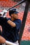 16 June 2006: Derek Jeter, shortstop for the New York Yankees, takes his turn in the batting cage prior to a game against the Washington Nationals at RFK Stadium, in Washington, DC. The Yankees defeated the Nationals 7-5 in the first meeting of the two franchises...Mandatory Photo Credit: Ed Wolfstein Photo...