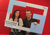 ***NO FEE PIC *** 05/06/2014 (L to R) Niamh Heery Director of Harmanli: Trapped on the Fringe of Freedom & Jury Member Brian Gleeson – Actor (Love/Hate, Snow White and the Huntsman) during the launch of the ICCL (Irish Council for Civil Liberties) Human Rights Film Awards Shortlist at the IFCO in Smith field, Dublin. Photo: Gareth Chaney Collins