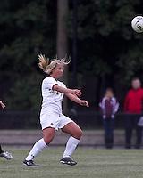 Boston College forward/midfielder Rachel Davitt (24) heads the ball. Boston College defeated North Carolina State,1-0, on Newton Campus Field, on October 23, 2011.