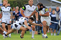Kane Palma-Newport of Bath Rugby takes on the Yorkshire Carnegie defence. Pre-season friendly match, between Yorkshire Carnegie and Bath Rugby on August 13, 2016 at Ilkley RFC in Ilkley, England. Photo by: Ian Smith / Onside Images