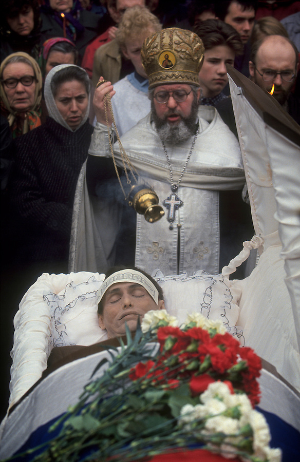Moscow, Russia, April 1994..Funeral of People's Deputy Andrei Aizderdzis, shot to death in gangland style killing..