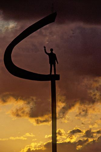 Brasilia, DF, Brazil. Kubitschek memorial by Oscar Niemeyer at dusk.