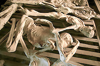 Rwanda. Southern province. Murambi. Skeletons of Tutsis, killed during the 1994 genocide. Mortal remains laid on wood boards at the Genocide Memorial. Over 50'000 people perished on the site and thrown in mass graves. The site of Murambi is located in the district of Nyamagabe, in the former Gikongoro prefecture, Nyamagabe commune. The site of Murambi is intented to be a regional research and documentation centre on Genocide. A special memory place. © 2007 Didier Ruef
