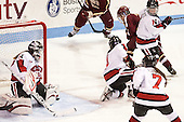 Chloe Desjardins (NU - 29), Maggie DiMasi (NU - 4), Melissa Bizzari (BC - 4), Kelly Wallace (NU - 5) - The Northeastern University Huskies defeated Boston College Eagles 4-3 to repeat as Beanpot champions on Tuesday, February 12, 2013, at Matthews Arena in Boston, Massachusetts.