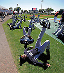 12 March 2011: Members of the New York Yankees stretch out prior to a Spring Training game against the Washington Nationals at Space Coast Stadium in Viera, Florida. The Nationals edged out the Yankees 6-5 in Grapefruit League action. Mandatory Credit: Ed Wolfstein Photo