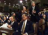 United States Senate Majority Leader Trent Lott (Republican of Mississippi), center front, smiles as U.S. President Bill Clinton walks to the podium to begin the State of the Union Address before a Joint Session of Congress in Washington, D.C. on January 19, 1999.  Lott is in charge of the Senate which is now hearing the Impeachment articles against Clinton.  Also visible are U.S. Senator John Warner (Republican of Virginia, top right, and U.S. Senator Olympia Snowe (Republican of Maine), top left.                                                                           .Credit: Win McNamee / Pool via CNP