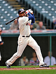 13 September 2008: Cleveland Indians' outfielder Ben Francisco in action against the Kansas City Royals at Progressive Field in Cleveland, Ohio. The Indians fell to the Royals 8-3 in the first game of their rain delayed double-header...Mandatory Photo Credit: Ed Wolfstein Photo