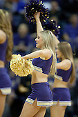 March 9, 2013:  Washington cheerleader Sarah Madsen pumped up the crowed during a timeout against UCLA.  UCLA defeated Washington 61-54 at Alaska Airlines Arena Seattle, Washington....