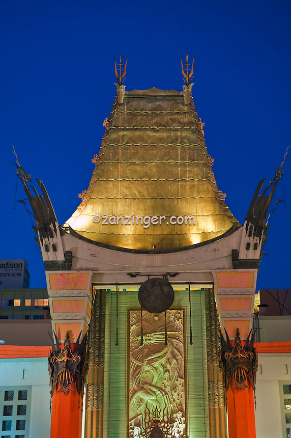 Grauman's Chinese Theater, Hollywood Ca. Boulevard, Night, Dusk, Royal Blue Sky,  Lights, reflections ,Vertical image