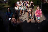 Students head to dinner at the Marquis Dining Hall at the Center for Talented Youth summer program at Lafayette College in Easton, PA on July 06, 2012. Several students were part of the Rural Connections scholarship program being offered for the first time this year.