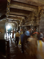 January, 2004 Pilgrims at Hindu religious temple at Belur, India