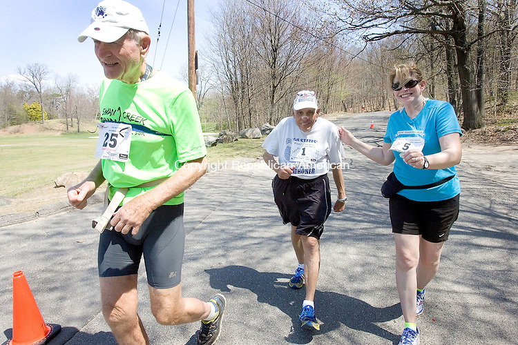 WATREBURY CT. 04 May 2015-050415SV04-Logan Kuzal of Gilford was the 1st woman finisher of the Oh Boy Marathon in Hamilton Park in Waterbury Monday. <br /> Steven Valenti Republican-American