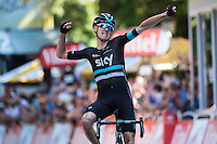 Picture by Alex Broadway/ASO/SWpix.com - 09/07/16 - Cycling - Tour de France 2016 - Stage Eight -  Pau to Bagn&egrave;res-de-Luchon - Chris Froome of Great Britain and Team Sky celebrates winning Stage Eight.<br />