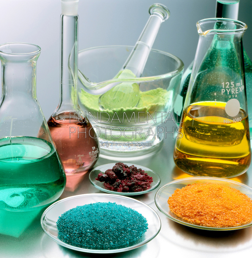 LABGLASS CONTAINING TRANSITION METAL COMPOUNDS<br /> (Variations Available).<br /> Solids &amp; Solutions in Mortar, Flasks &amp; Watchglass<br /> Pyrex and Kimax borosilicate glassware which is in a range of heat- and chemical-resistant glasses prepared by fusing together boron(III) oxide, silicon dioxide, and, usually, a metal oxide.