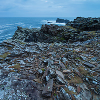 Broken rocks on top of cliffs at Butt of Lewis, Isle of Lewis, Scotland