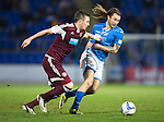 St Johnstone v Hearts.....18.01.14   SPFL<br /> Danny Wilson grabs Stevie May's shirt<br /> Picture by Graeme Hart.<br /> Copyright Perthshire Picture Agency<br /> Tel: 01738 623350  Mobile: 07990 594431