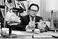 02 May 1972 --- Doctor Lowell T. Harmison demonstrating his creation, a nuclear powered artificial heart. Harmison held the position of director of the National Heart, Lung, and Blood Institute of Health, the NHLBI from 1967 to 1974. --- Image by © JP Laffont