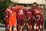 14 August 2015: Winthrop's starters huddle before the game. The University of North Carolina Tar Heels hosted the Winthrop University Eagles at Fetzer Field in Chapel Hill, NC in a 2015 NCAA Division I Men's Soccer preseason exhibition. North Carolina won the game 4-1.