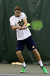 13 March 2016: Notre Dame's Quentin Monaghan. The Wake Forest University Demon Deacons hosted the University of Notre Dame Fighting Irish at the Wake Forest Indoor Tennis Center in Winston-Salem, North Carolina in a 2015-16 NCAA Division I Men's Tennis match. Wake Forest won the match 7-0.