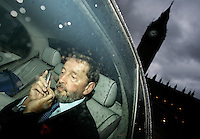 David Blunkett leaves the House of Commons after resigning as Work and Pensions Minister, November 2005. Photo By Andrew Parsons/PA